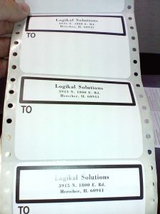 Preprinted continuous form mailing labels image