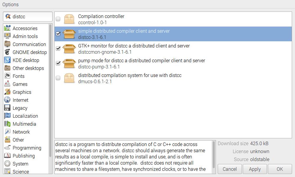 distcc install on Pi image