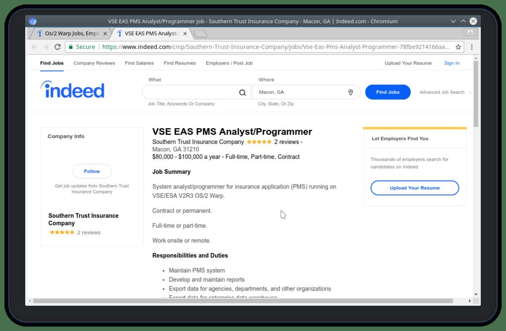 OS/2 Warp job posting