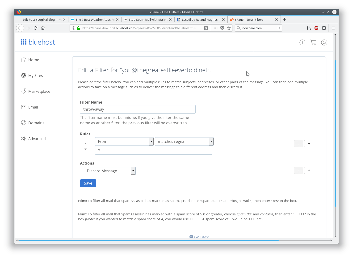 email filter