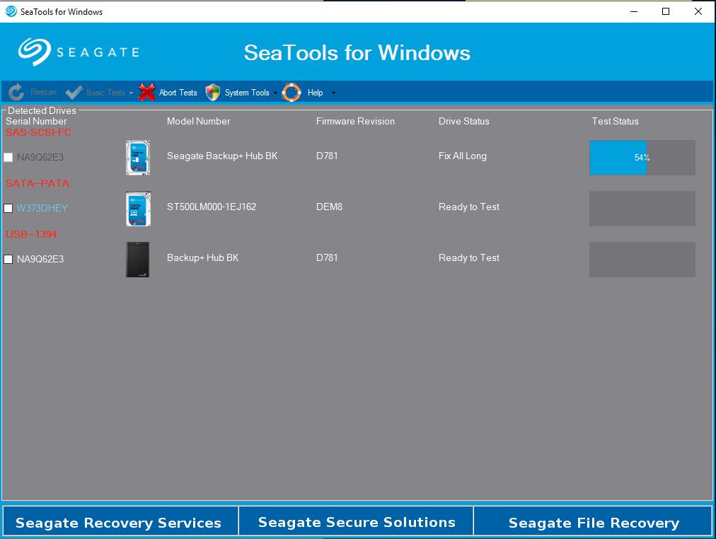 SeaTools Screen Shot