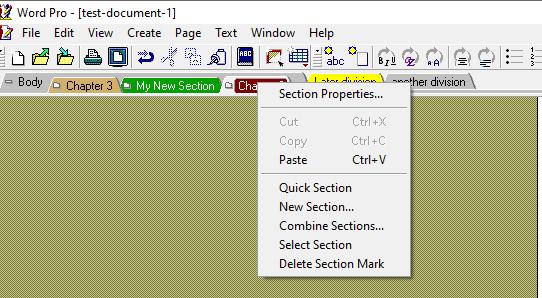 Section drop down menu image