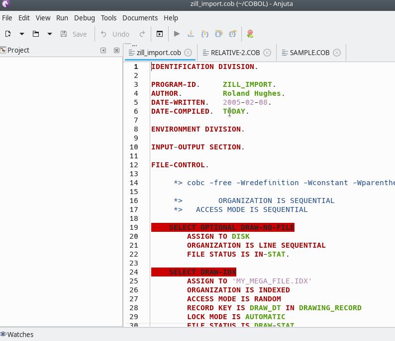 Anjuta COBOL free format image