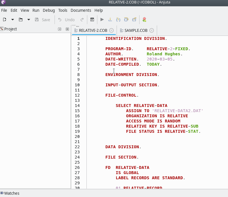 Anjuta COBOL new fixed format image