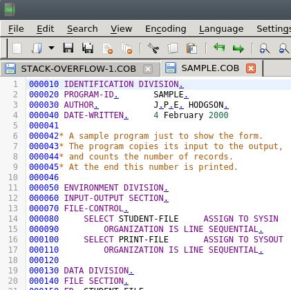 notepadqq COBOL fixed format image