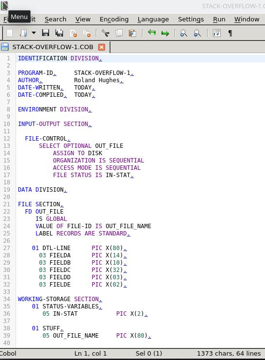 notepadqq COBOL image