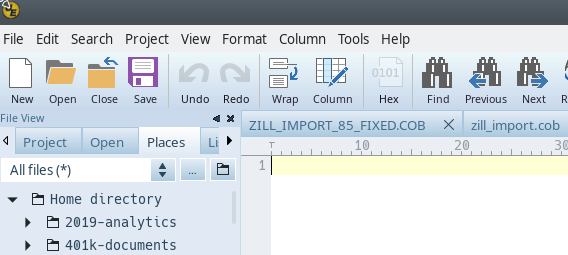 empty file with cursor in first position image
