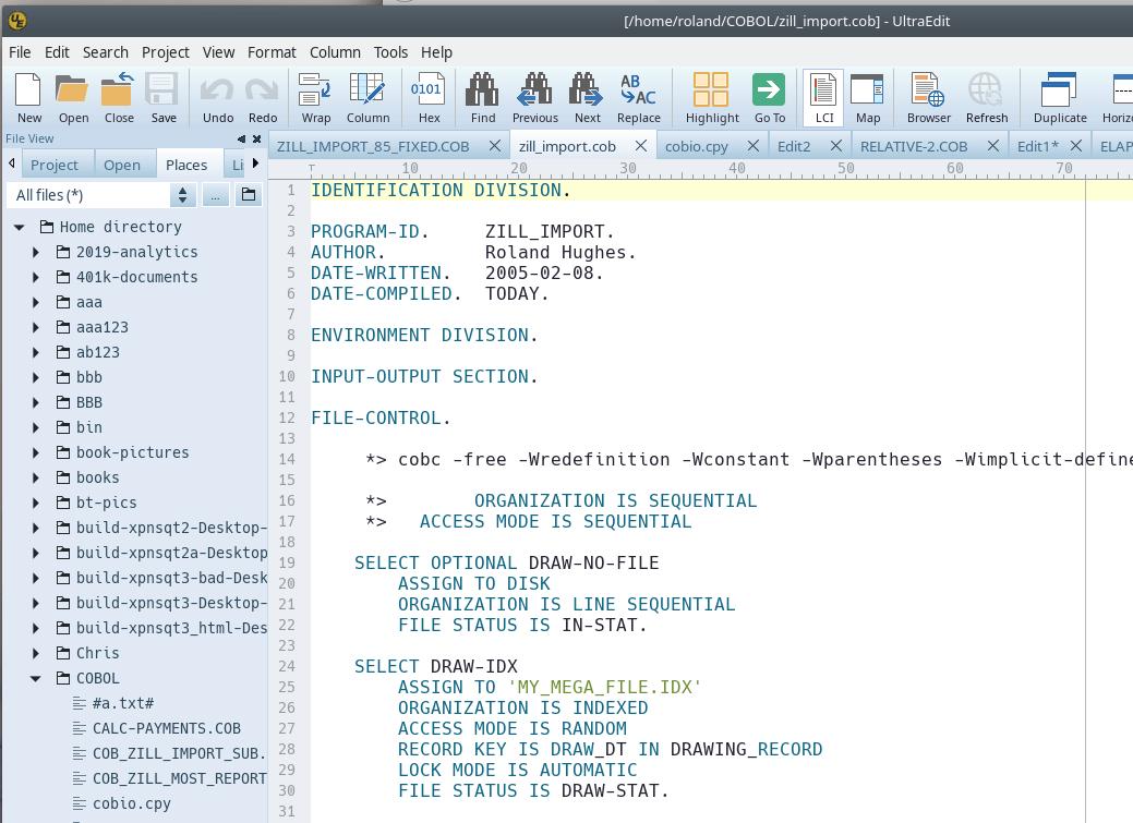 COBOL free format UE image