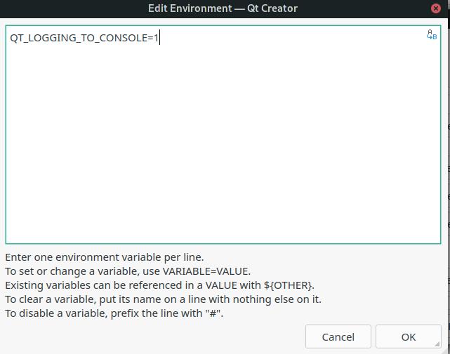 QtCreator kit environment qdebug output image